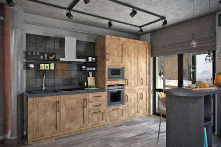 Квартира 45 кв.м. с большой лоджией в стиле лофт в UP-квартал Западное-Кунцево: Кухни в . Автор – Студия архитектуры и дизайна Дарьи Ельниковой