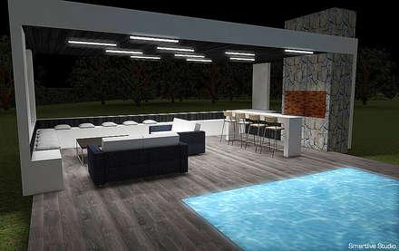 Quincho y piscina: Terrazas  de estilo  por Smartlive Studio