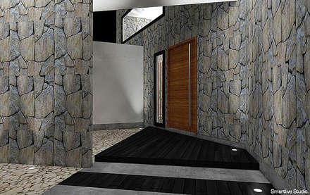 Hall de acceso: Pasillos, hall y escaleras de estilo  por Smartlive Studio