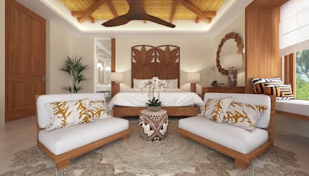 Dormitorio con alfombra de mimbre unida por varias circunferencias que combina con el techo de bambú: Dormitorios de estilo tropical de horasDluz Studio