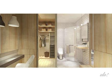 Master Room- Walk in Wardrobe & Toilet ( Section Cut Render ): scandinavian Bathroom by studioalo