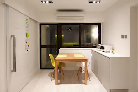 18 Renovation - 沙田穗禾苑: modern Dining room by Corner-S Architectural Design (Australia)