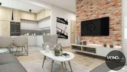 Salon z kuchnią w stylu skandynawskim: styl , w kategorii Salon zaprojektowany przez MONOstudio