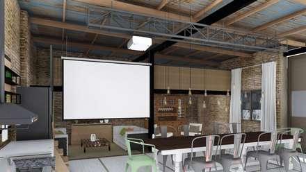 Salas de entretenimiento de estilo rústico por ARBOL Arquitectos