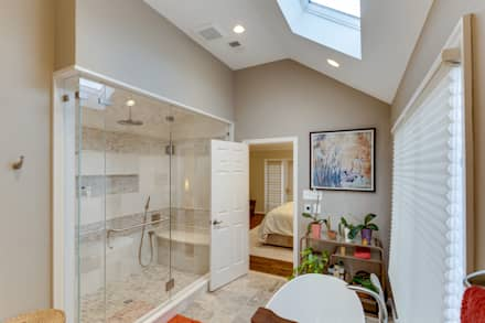 Universal Design Master Suite Renovation in McLean, VA: minimalistic Bathroom by BOWA - Design Build Experts
