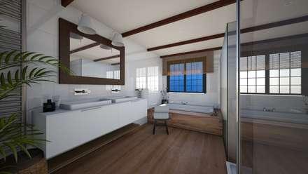 Loft: Baños de estilo ecléctico de Abaco Decoración