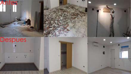 El antes y el después de reformar el interior del local : Salas multimedia de estilo moderno de Fengdeco