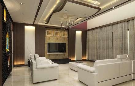 غرفة المعيشة تنفيذ A-Z Architects & Vaastu