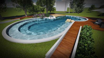 Studio per piscina in bio design: Piscina in stile in stile Mediterraneo di Francesco Onofri Architetto