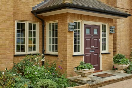 AluClad Wood Casement Windows With French Vanilla Finish:  Wooden windows by Marvin Architectural