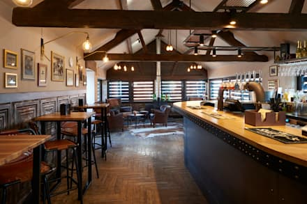 Bar at Sheppy's Cider:  Bars & clubs by Barc Architects