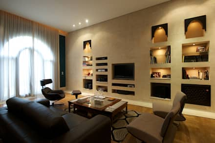 stone customized wall shelving : mediterranean Media room by Design Zone