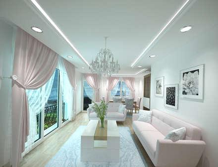 Altuncu İç Mimari Dekorasyon – salon tasarımı örnek daire: minimal tarz tarz Oturma Odası