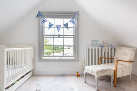 Mill house renovation and extension, Buckinghamshire: modern Nursery/kid's room by HollandGreen