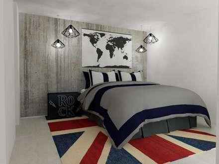 Habitación Masculina: Habitaciones de estilo moderno por Naromi  Design