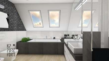 Projekt łazienki - Grafitowa cegła w tle: styl , w kategorii Łazienka zaprojektowany przez Katarzyna Piotrowiak Pure Form