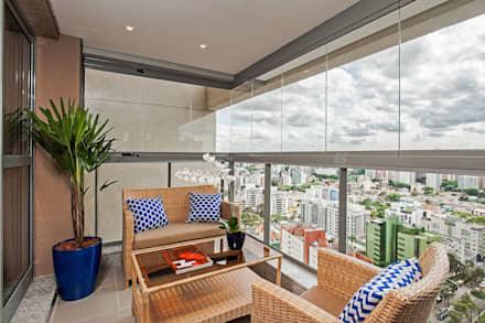 Apto NN_ 120m²: Terraços  por Carolina Kist Arquitetura & Design