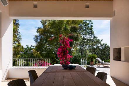 Terraza interior con vistas a los jardines.: Jardines delanteros de estilo  de Alejandro Giménez Architects