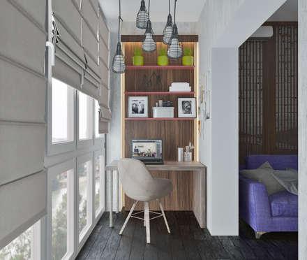 Двушка в стиле Лофт: Рабочие кабинеты в . Автор – Mantra_design