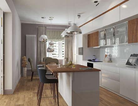 Трёшка с дополнительной ванной: Встроенные кухни в . Автор – Mantra_design