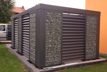 Gabionen-Einzelcarport dreiseitig geschlossen:  Carport von Steelmanufaktur Beyer