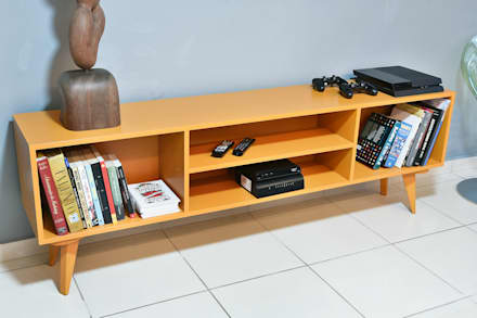 Apartamento decorado - Move Móvel: Salas de estar modernas por Move Móvel  Criação de Mobiliário
