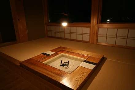 囲炉裏のある家: 安藤建築設計工房が手掛けた和室です。