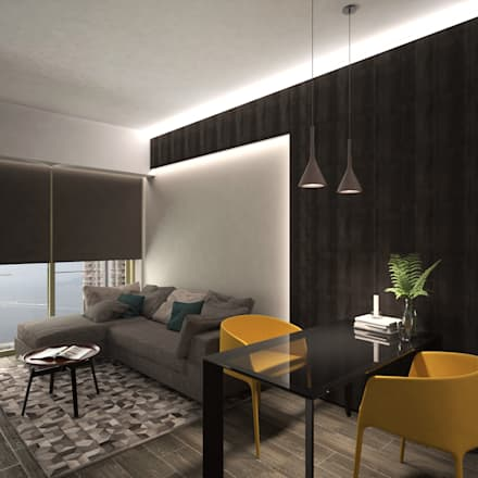 Cadogan | Kennedy Town | Hong Kong: modern Living room by Nelson W Design