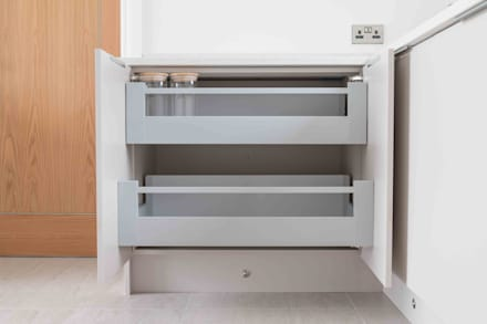 Pull out storage and clever features in abundance:  Built-in kitchens by ADORNAS KITCHENS