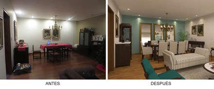 Sala Comedor - Antes y Después: Comedores de estilo ecléctico por Priscila Meza Marrero