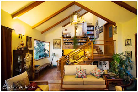Saravan - The Singh's residence:  Corridor & hallway by Sandarbh Design Studio
