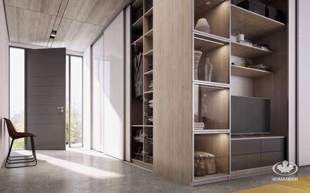 Nowoczesny przedpokój połączony z salonem: styl , w kategorii Korytarz, przedpokój i schody zaprojektowany przez Komandor - Ekspert od zabudowy wnętrz