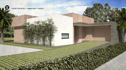 Moradia V3 – Setúbal | a.b. 170,00 m2 (construção LSF/aço leve): Casas pré-fabricadas  por ATELIER OPEN ® - Arquitetura e Engenharia