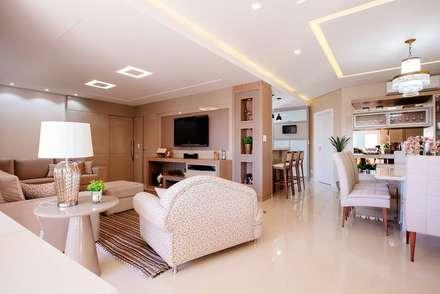 Apartamento - Áreas integradas: Salas de estar modernas por criAR - Arquitetura & Interiores