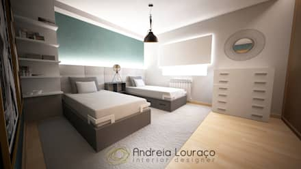 Dormitorios infantiles de estilo  por Andreia Louraço - Designer de Interiores (Contacto: atelier.andreialouraco@gmail.com)