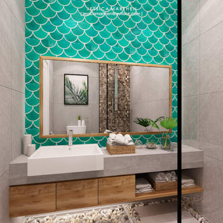 tropical Bathroom by JESSICA DESIGN STUDIO