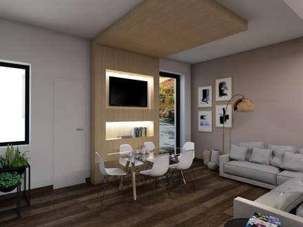 Struttura controsoffitto e libreria a parete: Sala da pranzo in stile in stile Moderno di StudioExNovo