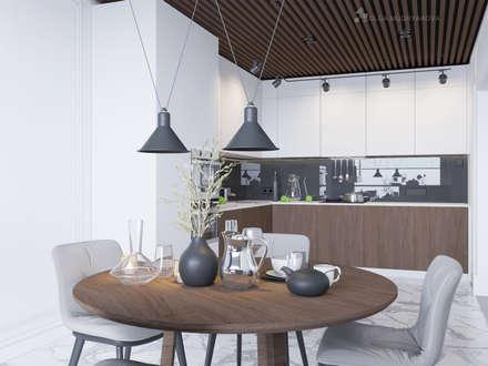 Белая кухня в современном стиле: Встроенные кухни в . Автор – Design interior OLGA MUDRYAKOVA