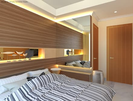 Guest Bedroom - Apartment Sudirman Area:  Kamar Tidur by Vaastu Arsitektur Studio