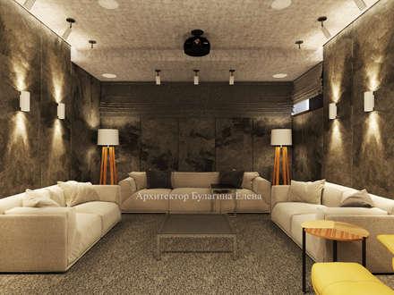 """Загородный дом в КП """"Миллениум Парк"""" Новорижское шоссе 1 этаж: Медиа комнаты в . Автор – Архитектурное Бюро 'Капитель'"""
