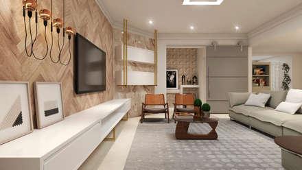 Living: Salas de estar modernas por Flávia Kloss Arquitetura de Interiores