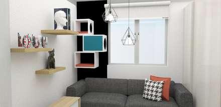 habitación multifuncional : Habitaciones de estilo escandinavo por Naromi  Design