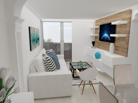 sala : Salas multimedia de estilo escandinavo por Naromi  Design