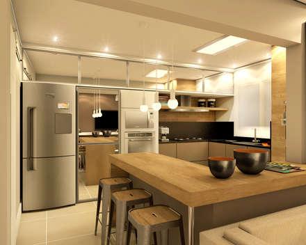 Apartamento: Cozinhas modernas por MQ Design Interiores