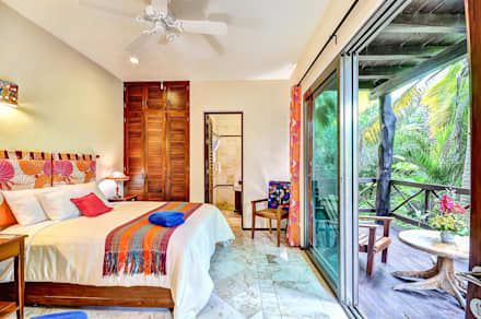 tropical Bedroom by DHI Riviera Maya Architects & Contractors