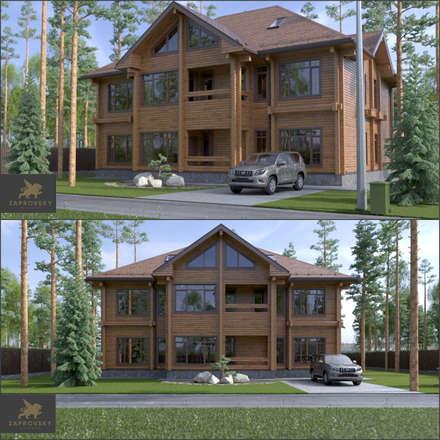 Фасад фронтальный: Деревянные дома в . Автор – ZAPROVSKY Архитектурная мастерская