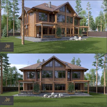 Фасад тыльный: Деревянные дома в . Автор – ZAPROVSKY Архитектурная мастерская