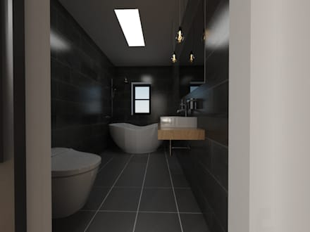 두공간을-- 한공간으로 인테리어 디자인: 디자인 이업의  화장실