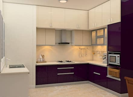 Mantri Webcity, Duplex 3 BHK - Mr. Vishal:  Built-in kitchens by DECOR DREAMS
