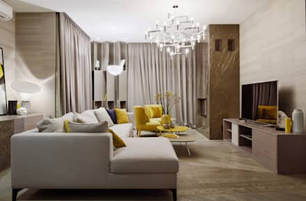 House in Minsk: modern Living room by Unique Design Company